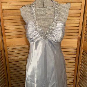 Morgan & Co silver cocktail dress SZ 13/14